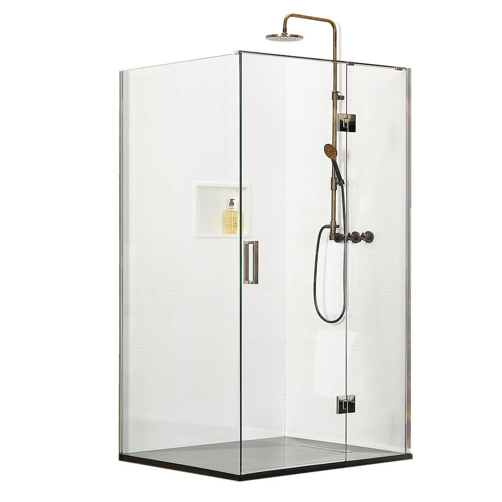 Atlantis Ebony & Ivory Lyric 2-Walled Shower - 1200 x 900mm