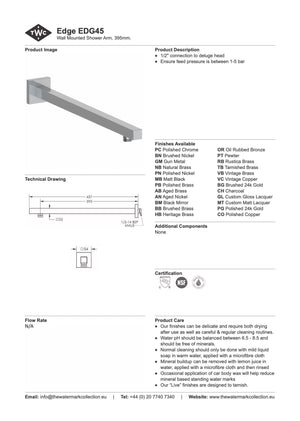 The Watermark Collection Edge Wall Mounted Shower Arm 395mm