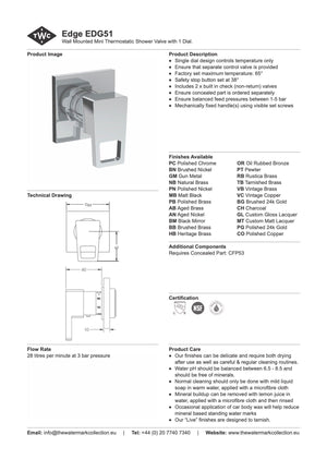 The Watermark Collection Edge Mini Thermostatic Shower Mixer