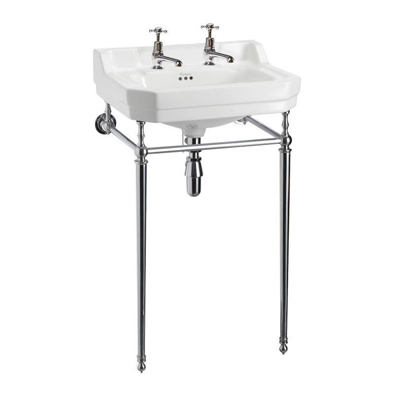 Burlington Edwardian Rectangle 610mm Basin with Chrome Wash Stand