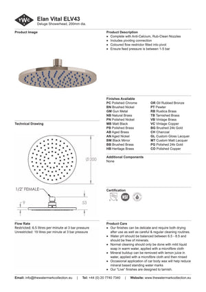 The Watermark Collection Elan Vital Deluge 200mm Shower Head Only