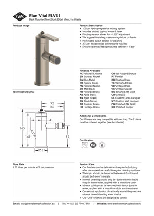 The Watermark Collection Elan Vital Monoblock Bidet Mixer