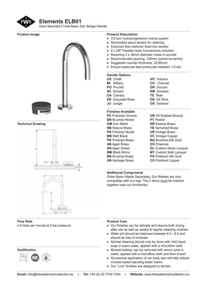 The Watermark Collection Elements 2 Hole Basin Set - Bridge Insert
