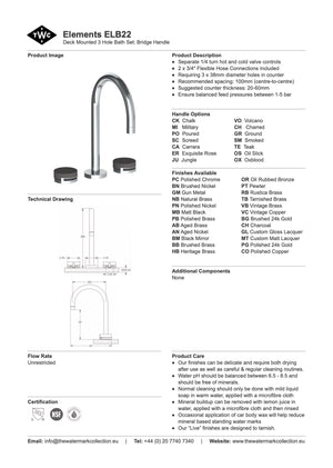 The Watermark Collection Elements 3 Hole Bath Set - Bridge Insert