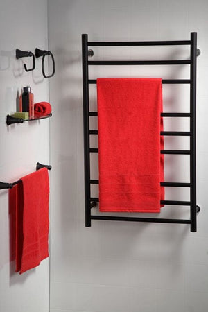 Heirloom Genesis Nero Heated Towel Rail - Black - 1025 x 600mm