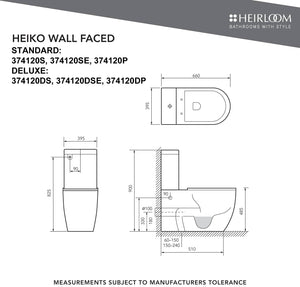 Heirloom Heiko Comfort Wall Faced Toilet - Deluxe