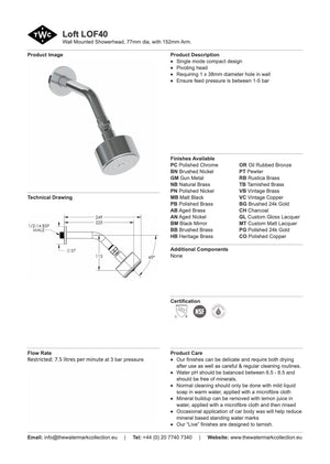 The Watermark Collection Loft 77mm Shower Head & Arm