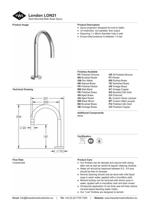 The Watermark Collection London Hob Mounted Swan Bath Spout