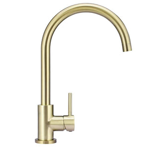 Meir Round Gooseneck Kitchen Mixer - Tiger Bronze | Brushed Brass