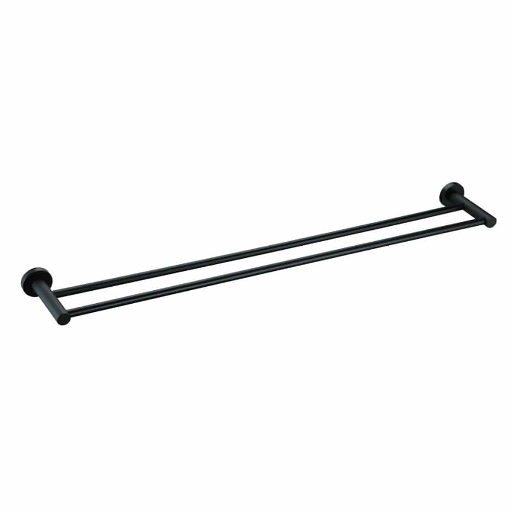 * Meir Round Double Towel Rail - Matt Black