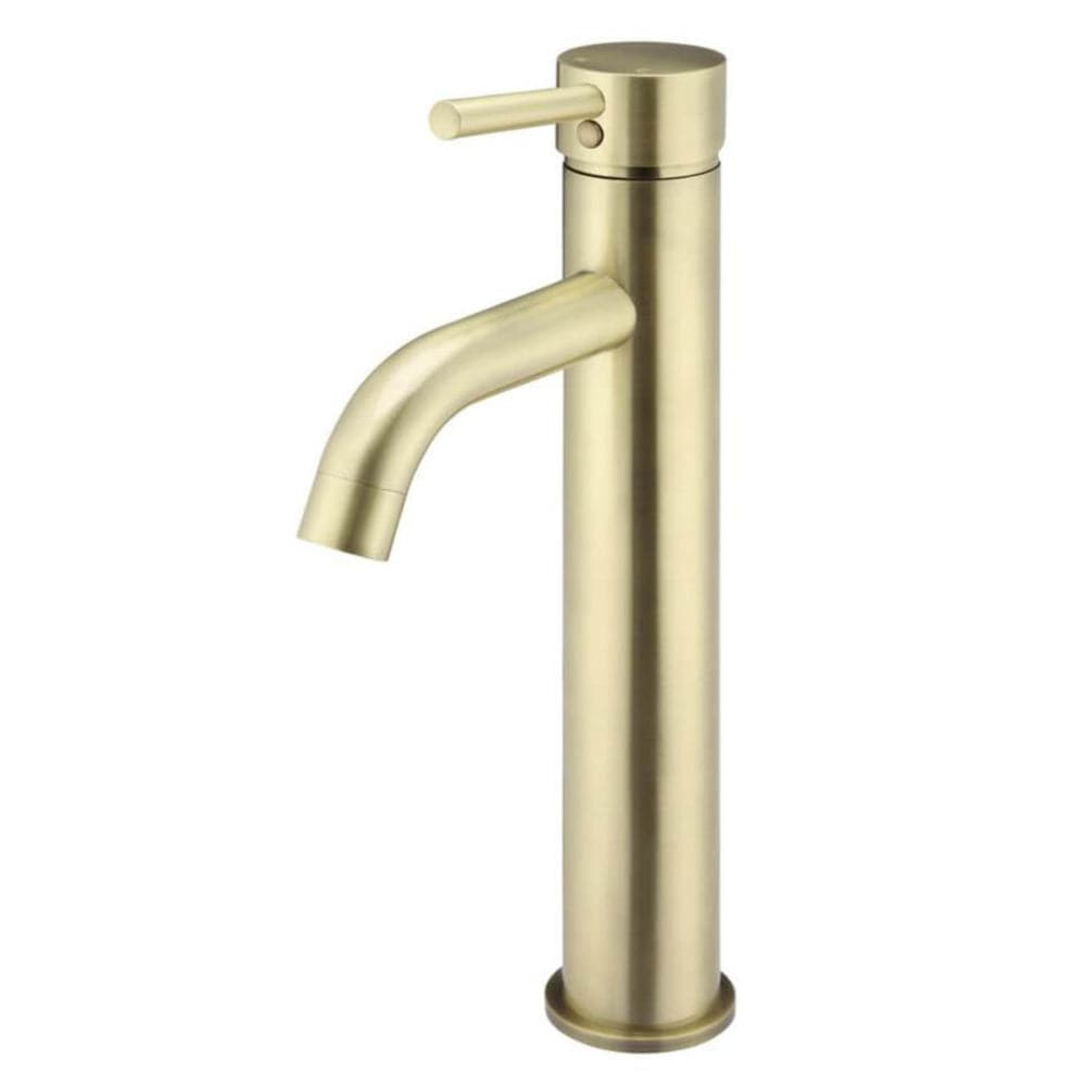 Meir Tall Basin Mixer with Curved Spout - Brushed Brass | Tiger Bronze