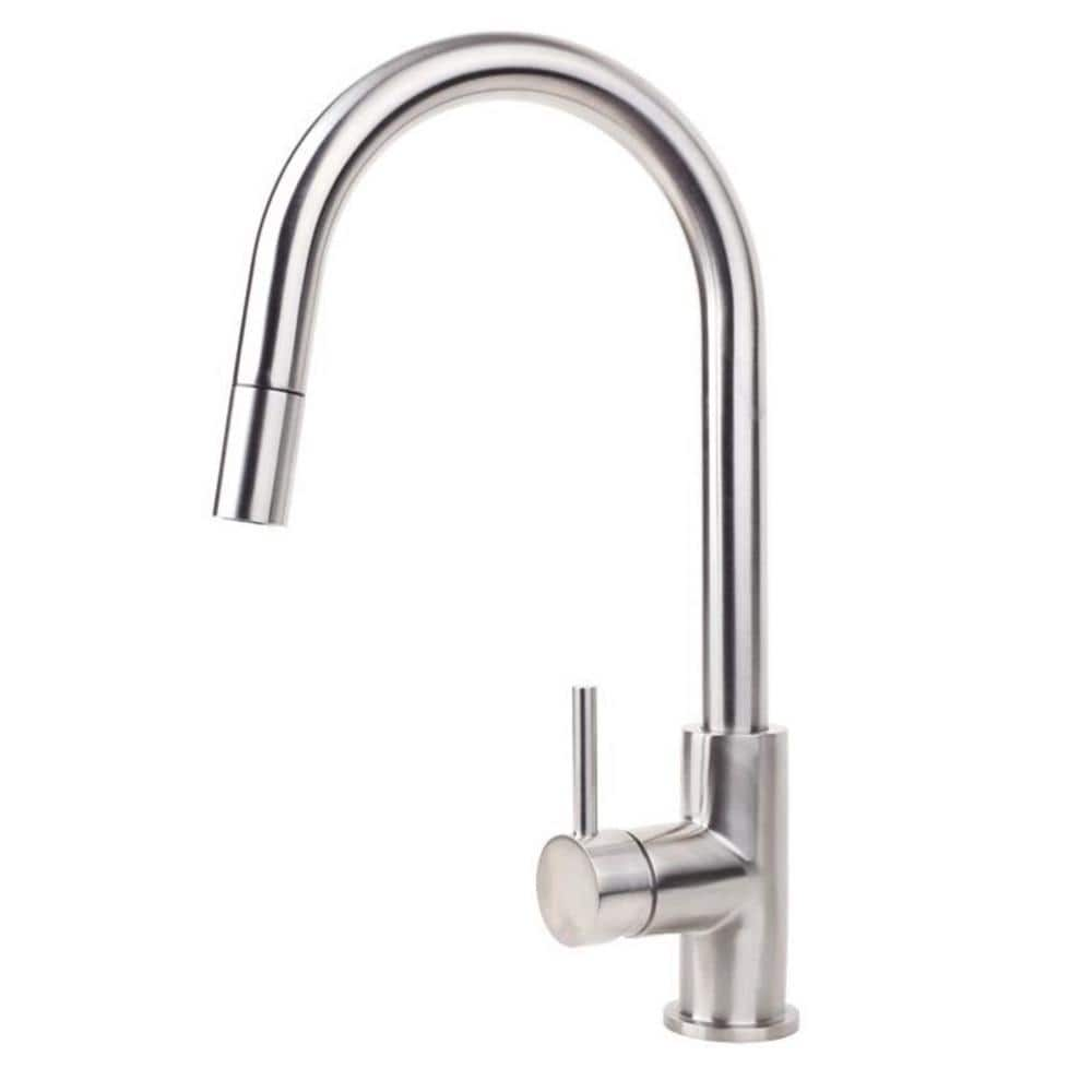 Swiss Kitchen Gooseneck Mixer with Pull Out Spray - Brushed Stainless Steel