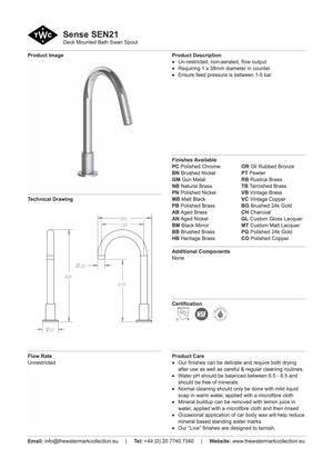 The Watermark Collection Sense Hob Mounted Bath Spout