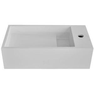 TKH Solid Surface Wall Mounted Basin | Matte White