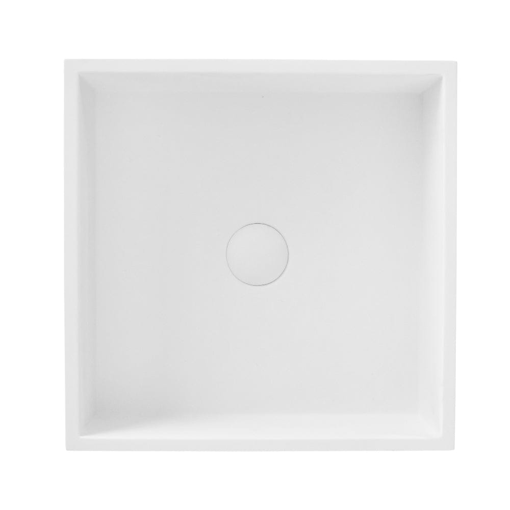 TKH Solid Surface Square Vessel Basin | Matte White