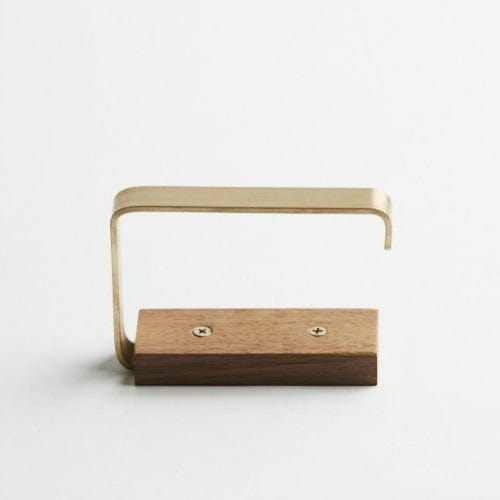 Wood Melbourne Gilbert Timber and Brass Toilet Roll Holder