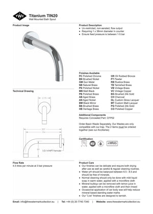 The Watermark Collection Titanium Wall Mounted Bath Spout