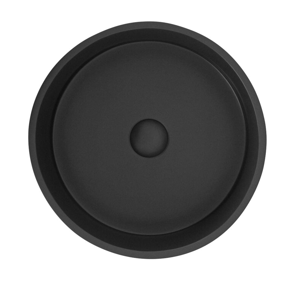 TKH Solid Surface Round Vessel Basin | Matte Charcoal