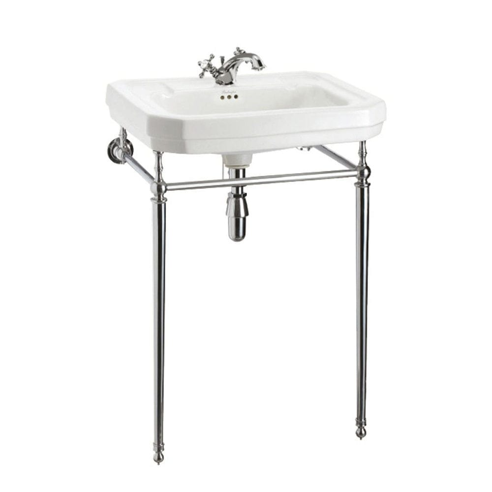 Burlington Victorian Rectangle 560mm Basin with Chrome Wash Stand