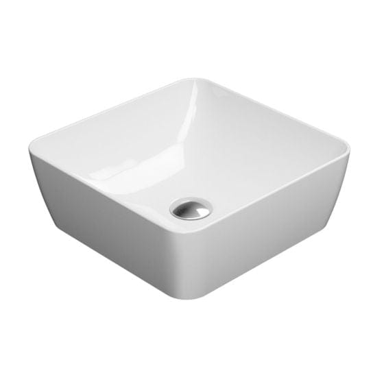 Astra Walker Pura 380 Square Vessel Basin | Gloss White