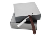 King's Crown Carbon Steel STRAIGHT RAZOR blade- Rose Wood handle in a silver box