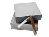 King's Crown Carbon Steel STRAIGHT RAZOR blade - Zebrano Wood handle in a silver box