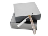 King's Crown Carbon Steel STRAIGHT RAZOR blade - Buffalo Horn handle in a silver box