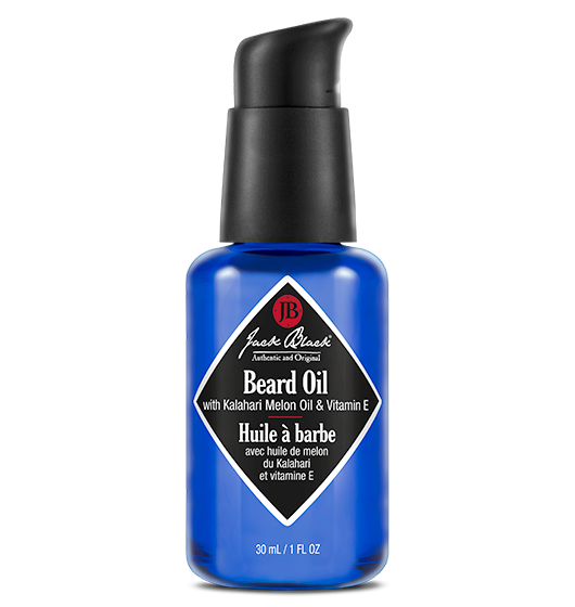 ack Black Beard Oil in a blue bottle and a black airless pump