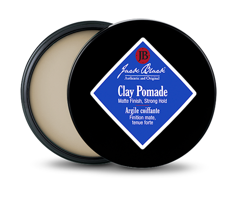 Jack Black Clay Pomade open with a white clay and black twist top