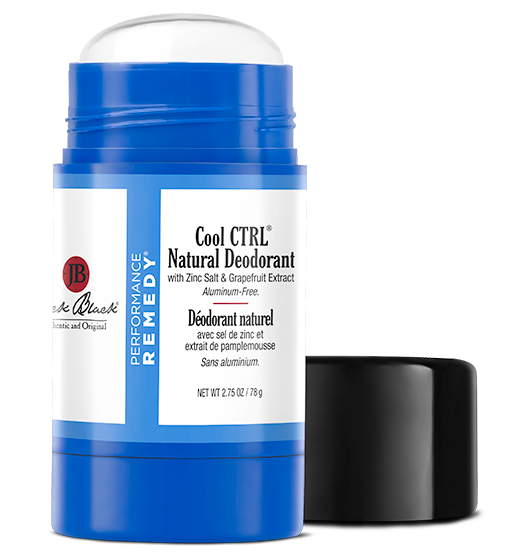 Jack Black Cool CTRL Aluminum Free Deodorant in a blue package open with the lid beside
