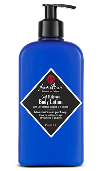 ack Black Cool Moisture body lotion in a blue bottle  and a black airless pump