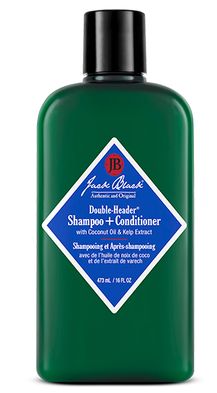 ack Black Double Header Shampoo and Conditioner in a green bottle with black push top