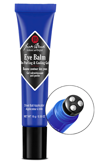 Jack Black eye balm de-puffing and cooling gel with a close on the stainless-steel rollerball applicator