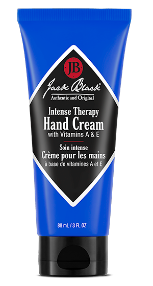 Jack Black Intense Therapy Hand Cream in a blue bottle