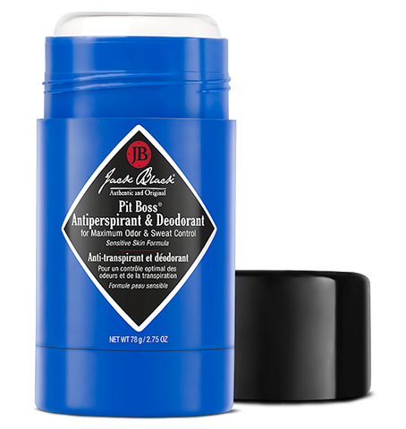 Jack Black Pit Boss antiperspirant and deodorant in a blue package open with the lid beside