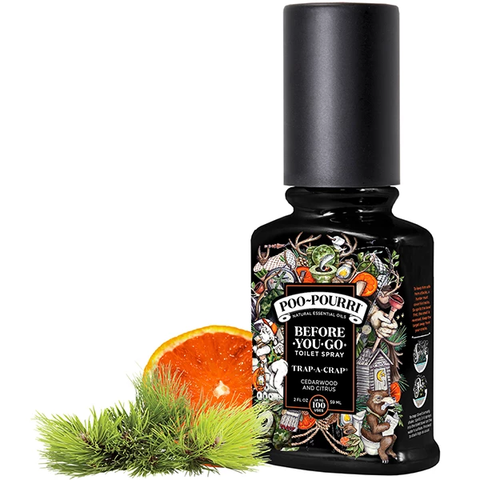 The toilet spray Poo Pourri will make your bathroom experience smell good. Cedarwood and Citrus scent.