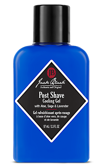 ack Black Post Shave Cooling Gel in a blue bottle
