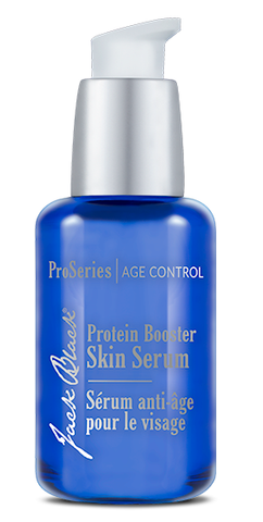 Jack Black Protein Booster Skin Serum in a blue package and white airless pump