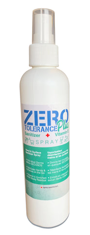 Zero Tolerance sanitizer spray enriched with vitamin E in 8 oz white bottle with spray top. 70% Alcohol
