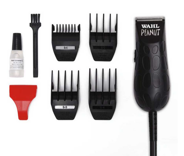 Whal Peanut Trimmer black color 4 attachment combs, oil, cleaning brush, and red blade guard out of package