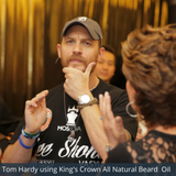 Celebrity Tom Hardy testing King's Crown All Natural Beard Oil.