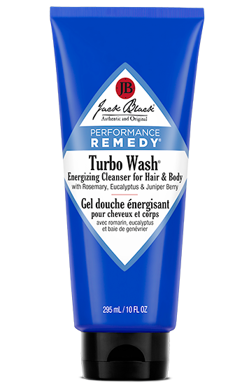 Jack Black Turbo Wash energizing cleanser for hair and body 10 fl oz in a blue bottle