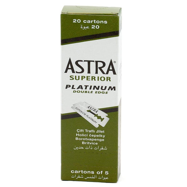 Green Box of Astra Double Edge Safety Razor with 20 cartons of 5 blades each