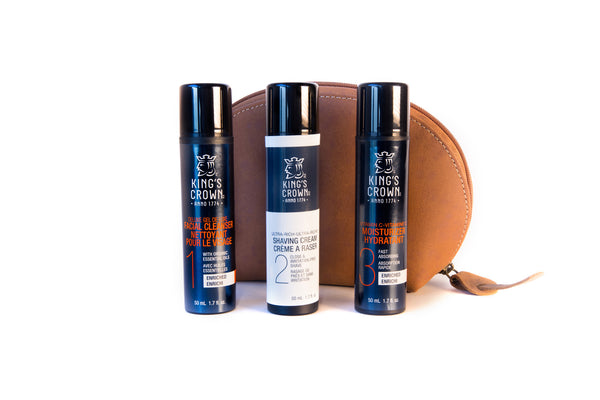 Brown Leather Case with three products in front ,  King's Crown Deluxe Gel Facial Cleanser, Kings Crown Ultra Rich Shave Cream and King's crown Moisturizer all  travel size (15 ml)