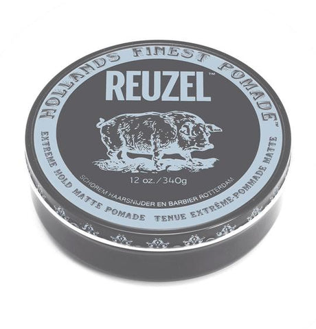 Grey Reuzel Extreme Hold Matte Pomade 12oz, sold at King's Crown in Toronto, Canada.