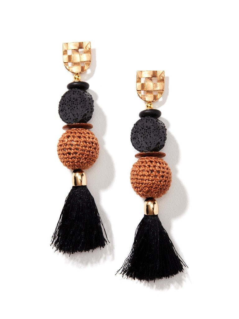 Dokra Gemstone Tassel Earrings