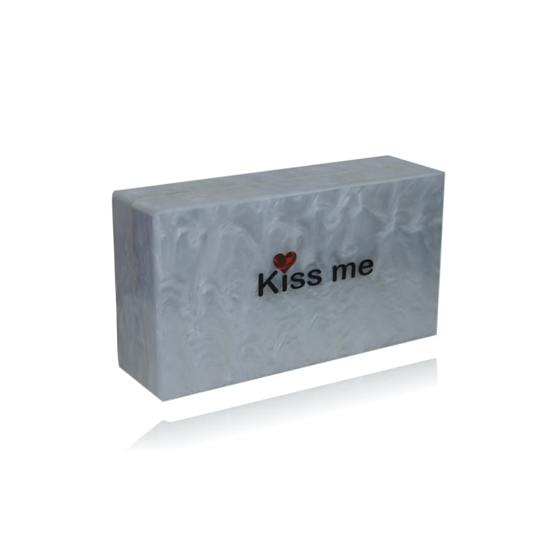 White and Gold Kissing Elephant Acrylic Box Clutch