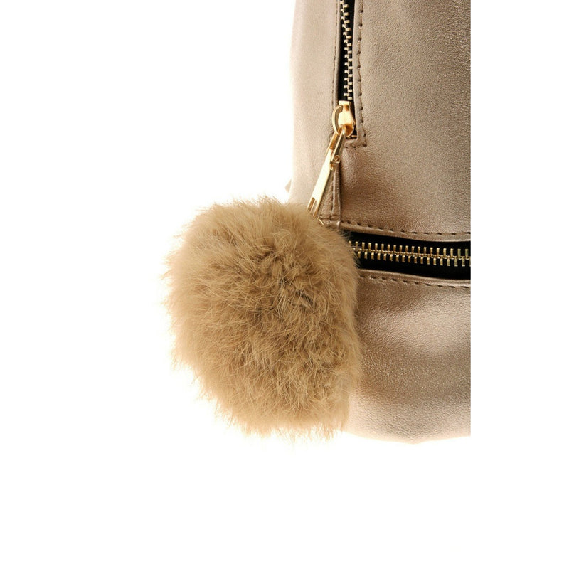 Faux Leather Mini Backpack with Faux Fur Puff in Gold