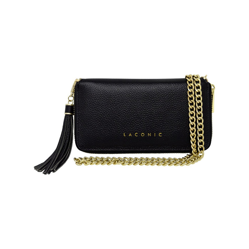 Black Leather Chain Clutch / Wristlet