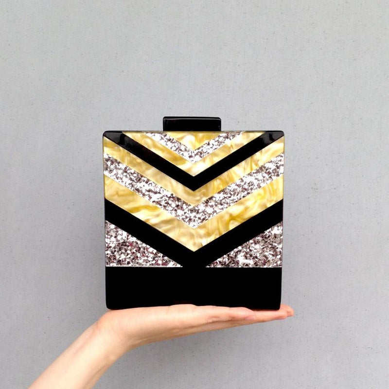 Acrylic Strip Clutch Pearl Shinny Clutch